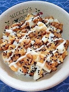 納豆の食べ方-ゆでたまご&ごまマヨ♪