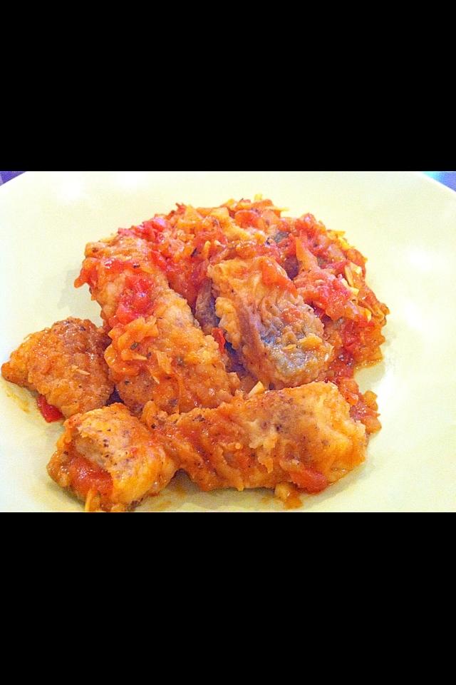 鯖のバジルトマト煮