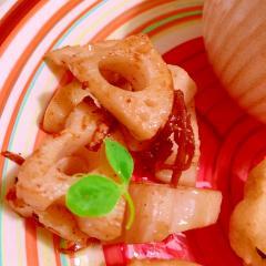 シャキッと生姜佃煮×蓮根の黒七味ペペロンチーノ