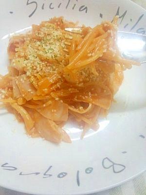 フライパン1つでパスタ☆楽技トマトジュース茹で♪
