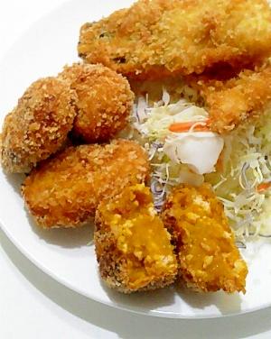 鶏ひき&白ゴマ入り♪かぼちゃコロッケ
