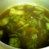 残りカレーで白菜生姜スープ