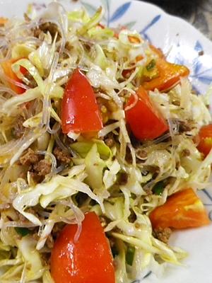 キャベツトマト春雨の挽肉サラダ
