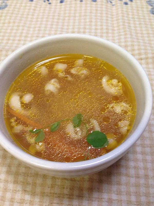 2. 鶏皮でにんじんスープ