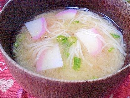 「味付けシジミ&かまぼこ入り素麺汁」