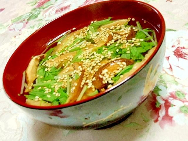 ちゃちゃっと簡単どんこと水菜と胡麻のスープ