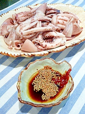 いかげそボイル 〜韓国風☆コチュたれ添え〜 レシピ・作り方 by まめもにお|楽天レシピ
