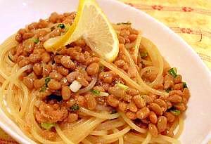 納豆と明太子!和風王道のスパゲティ