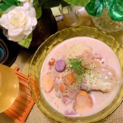 さつま&魚河岸揚げの冷たい蕎麦粉豆乳シチュー