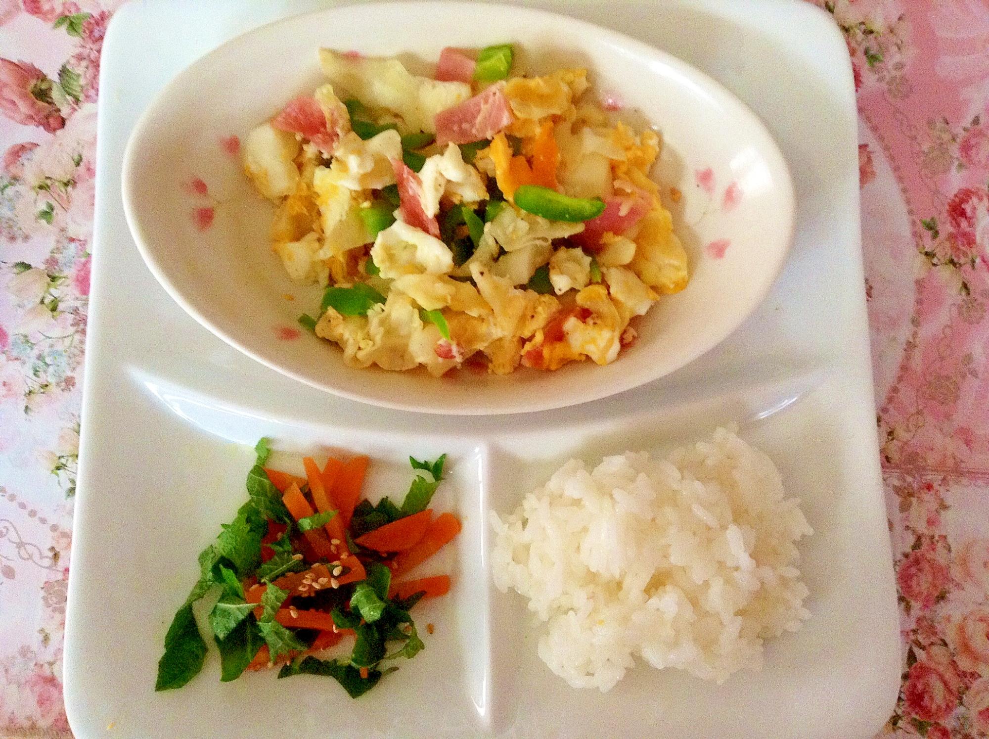 卵野菜炒めと人参と大葉の和え物のワンプレート