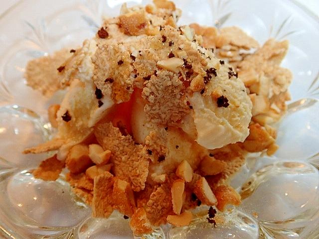 玄米フレークとハニーピーナツのほろ甘アイス