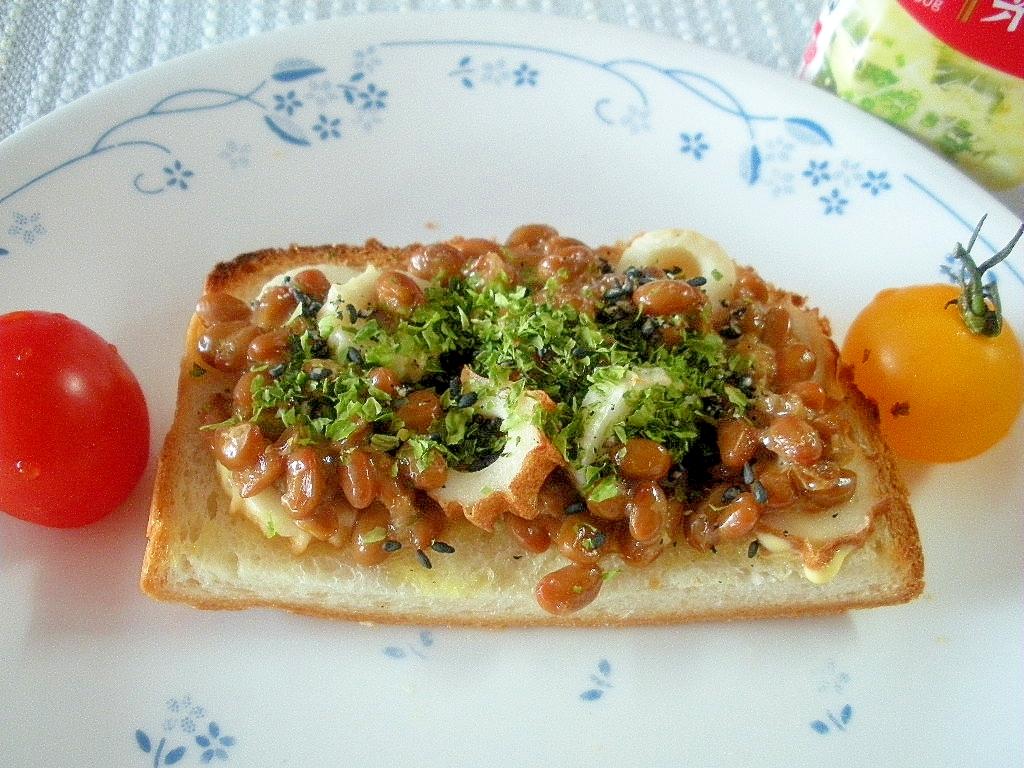 ☆ちょっと中華に納豆とちくわのおつまみトースト☆