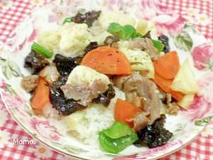 カリフラワーの肉炒めあんかけご飯