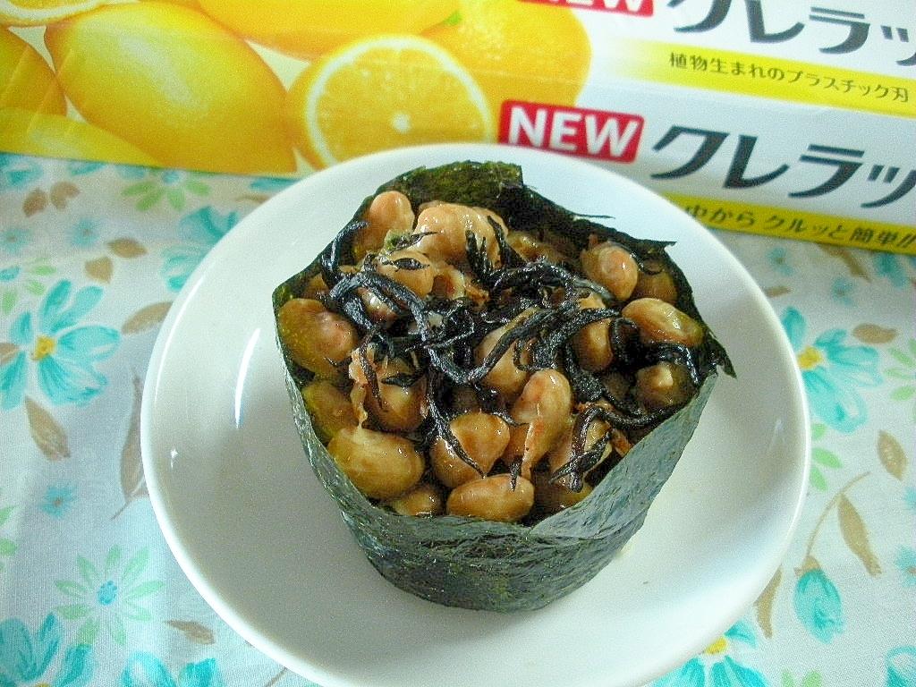 北海道☆納豆とヒジキふりかけのおにぎり☆