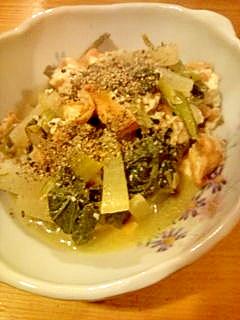 小松菜と絹揚げの煮物