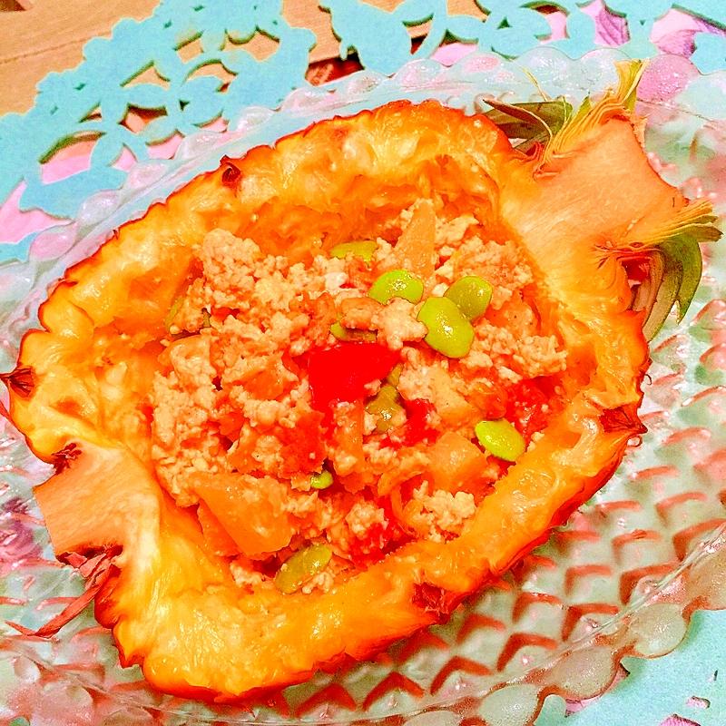 パイナップルとカラフル夏野菜のスクランブルエッグ