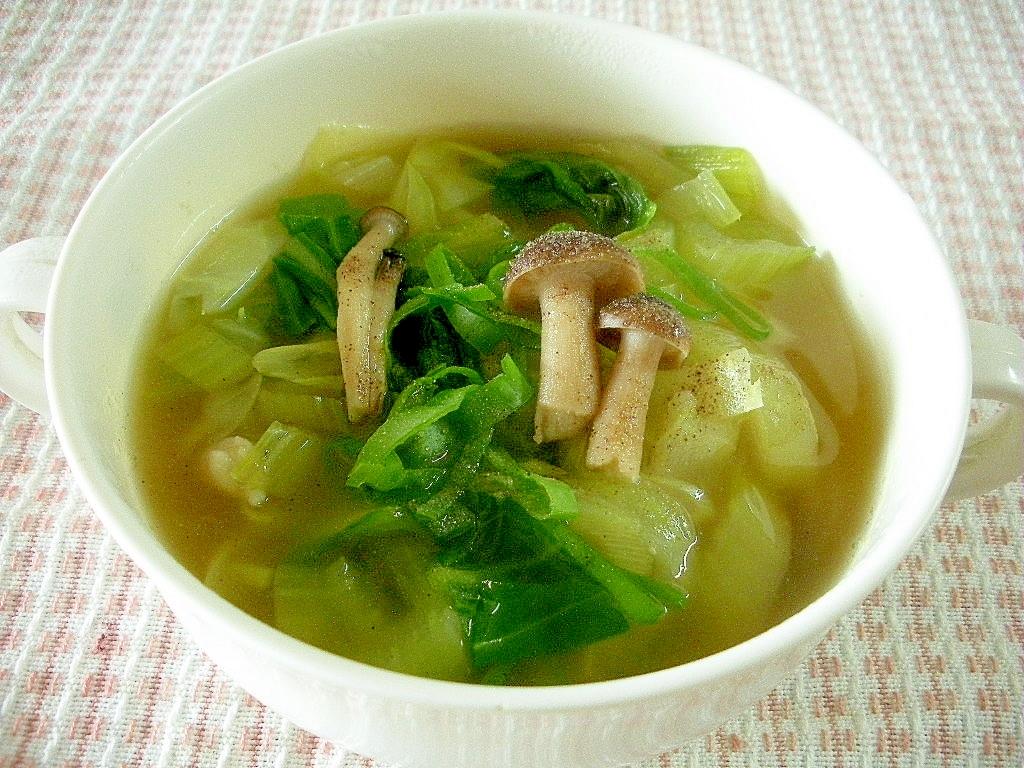 6. チンゲン菜としめじのスープ