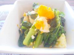 大根葉とゆで卵のゆず醤油和え