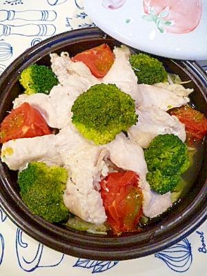 塩麹鶏むね肉で☆野菜たっぷりタジン蒸し