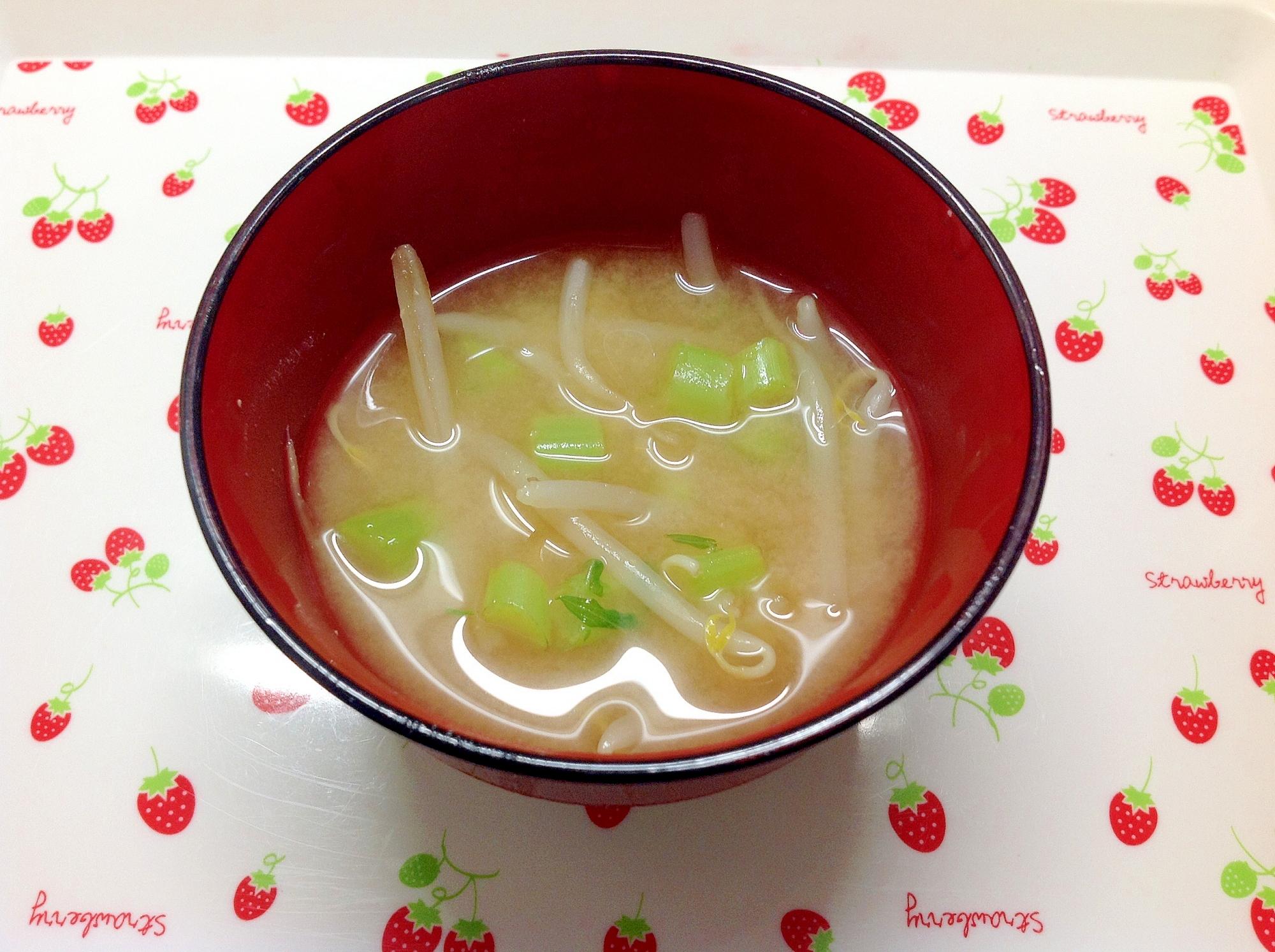 大根葉ともやしのお味噌汁