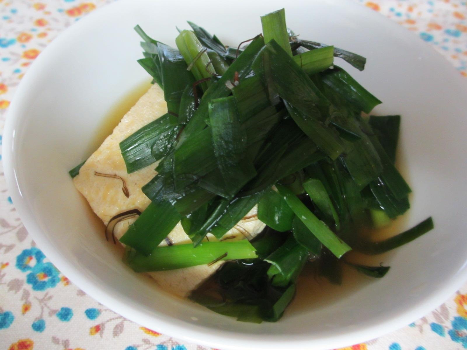 凍り豆腐とニラの煮浸し