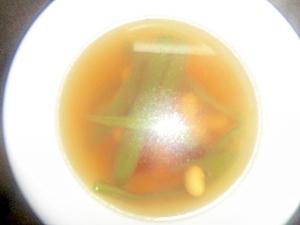 ミックスビーンズとピーマンのコンソメスープ