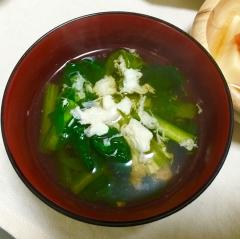 余った卵白使用‼︎小松菜と白身だけ玉子スープ♡
