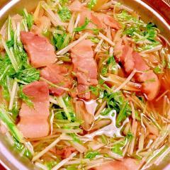 塩豚と水菜と白葱のサッと煮