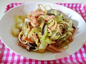 野菜たっぷり♪なすとスパムの和風パスタ