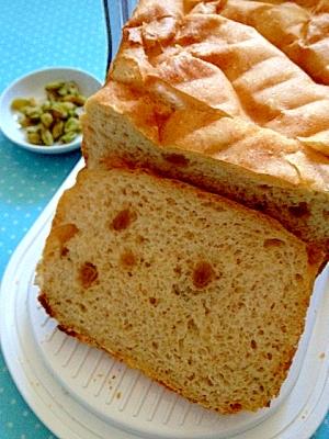 ホームベーカリーで作るレーズンご飯食パン♪