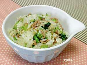 生姜風味♪豚小松菜の混ぜご飯