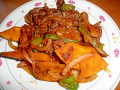牛肉とかぼちゃのケチャップ炒め