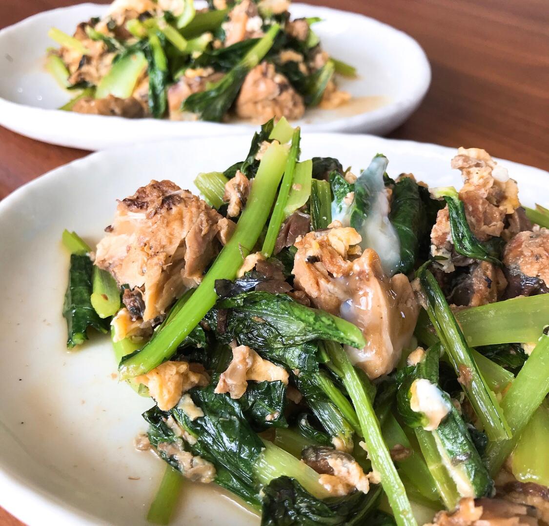 調味料不要!サバ缶と小松菜の炒め物 レシピ・作り方