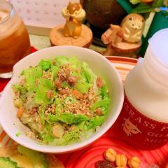 雑穀と緑野菜の胡麻ぽん酢サラダ
