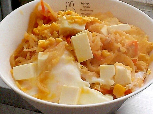 リメイク切り干し大根の煮物の残りで豆腐の卵とじ&丼