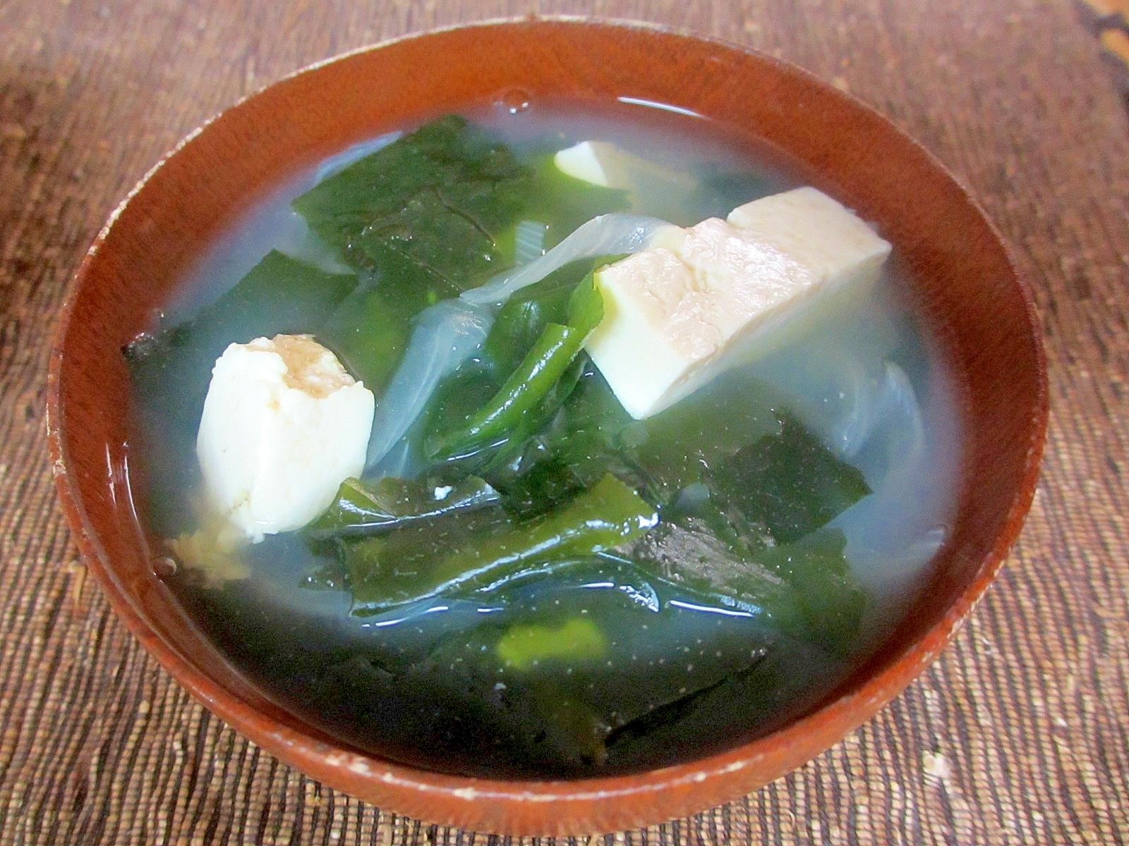 シジミとわかめと豆腐の生姜スープ