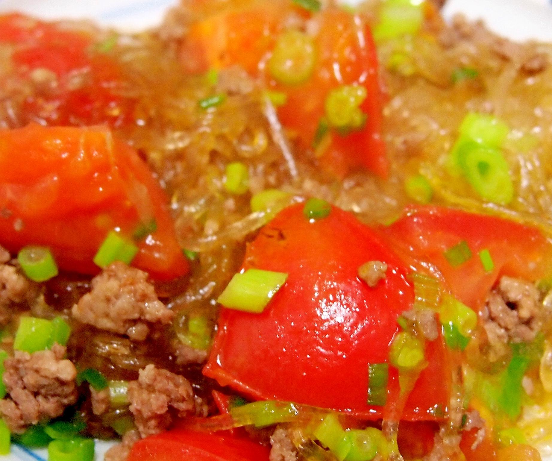 トマトとひき肉の中華春雨