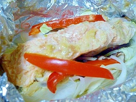 柚子胡椒入り味噌マヨの♪鮭のホイル焼き