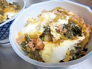 小松菜・ひき肉・豆腐の卵とじ