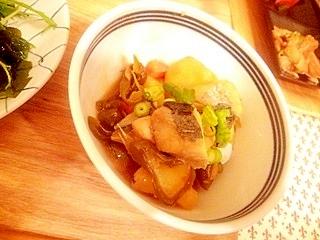 さわらと野菜の黒酢餡