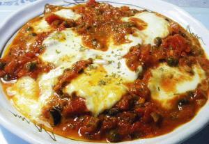本格イタリアンソースで頂くピザ職人風メイン料理