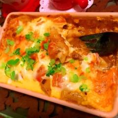 ズボラで旨い!焼きチーズカレーマカロニオムグラタン