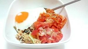 トマトでビビンバ丼(^^)