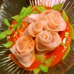 豚薔薇しゃぶの冷たいトマトパスタ