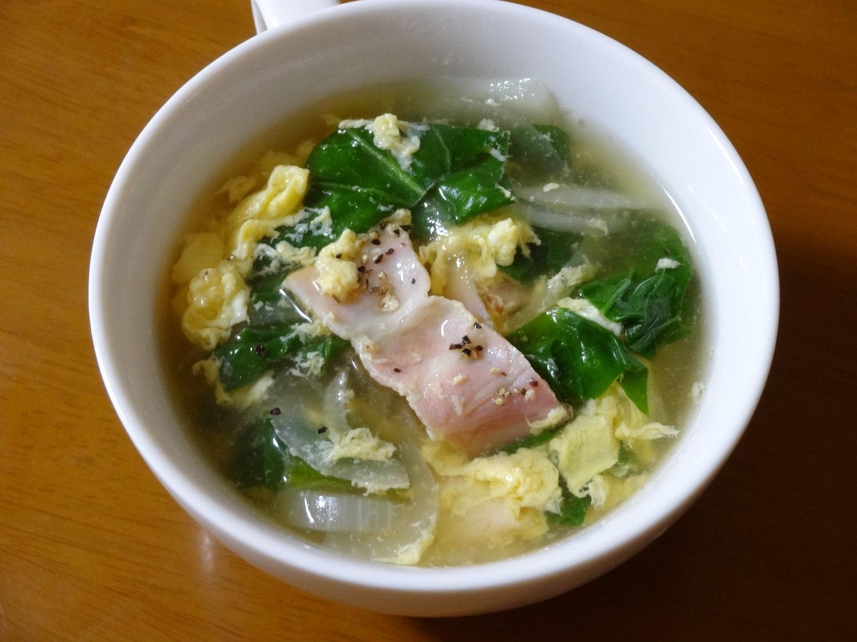 ベーコン・ほうれん草のコンソメスープ レシピ・作り方 by みーちゃん6914|楽天レシピ