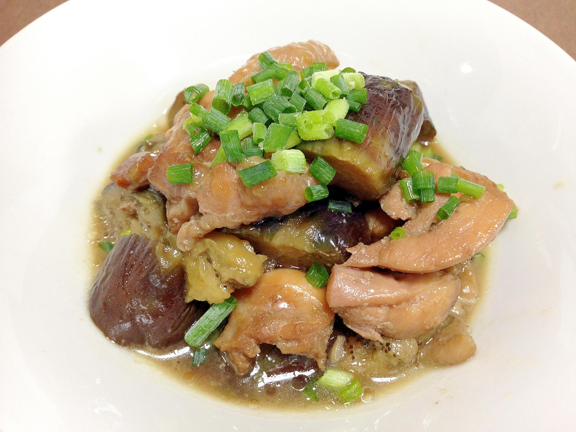 17. 鶏肉と揚げなすの煮浸し