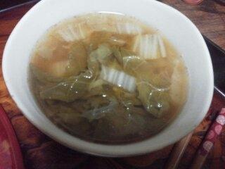 白菜のとんこつ味噌スープ