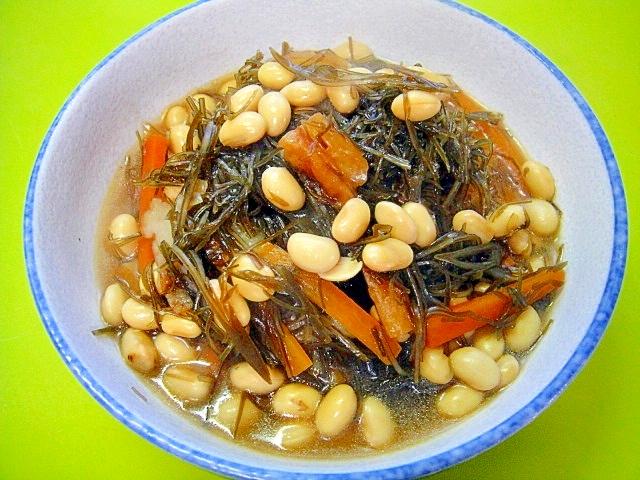 切り昆布と大豆の煮物