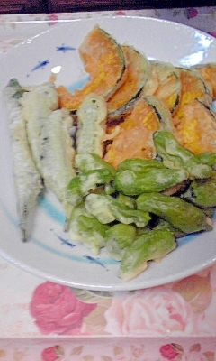 夏野菜の天ぷら3種♪