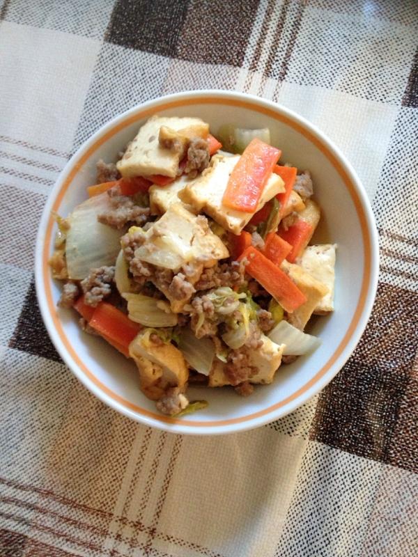 厚揚げとひき肉の味噌炒め